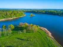 Aerial landscape of small island. At the lake Royalty Free Stock Photo