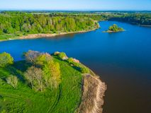 Aerial landscape of small island. At the lake Stock Images