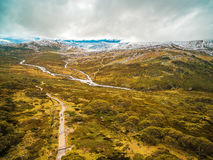 Aerial landscape of Snowy Mountains at Kosciuszko National Park,. Australian Alps. Australia Stock Photo