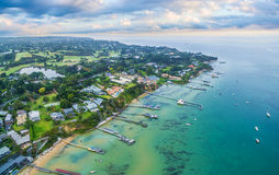 Aerial landscape of Sorrento suburb coastline with private piers Royalty Free Stock Photo