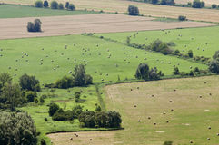 Aerial landscape with tiny straw bales Royalty Free Stock Images