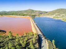 Aerial landscape of unusual, colorful lakes in Minas de Riotinto. Andalusia, Spain Royalty Free Stock Photos