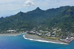 Aerial landscape view of Avarua Town Rarotonga Cook Islands. Aerial landscape view of Avarua Town, the capital of Cook Islands, and Port of Avatiu, the main Royalty Free Stock Photography