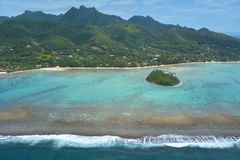 Aerial landscape view of Muri Lagoon in Rarotonga Cook Islands stock photography