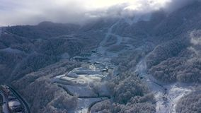Aerial landscape view of Caucasus Mountains in Gorky Gorod at sunny day, Sochi, Russia. Aerial landscape view of Caucasus Mountains in Gorky Gorod after heavy stock footage