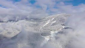 Aerial landscape view of Caucasus Mountains in Gorky Gorod ski and snowboard resort, Sochi, Russia. Aerial landscape view of Caucasus Mountains in Gorky Gorod stock video