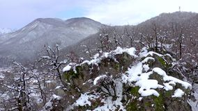 Aerial landscape view of Caucasus Mountains in Gorky Gorod, Sochi, Russia. Trees and rocks covered with snow. Aerial landscape view of Caucasus Mountains in stock video