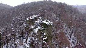 Aerial landscape view of Caucasus Mountains in Gorky Gorod, Sochi, Russia. Trees and rocks covered with snow. Aerial landscape view of Caucasus Mountains in stock footage