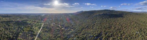 Aerial landscape view of Cerro da Cabeca hill, hiking trail. Aerial landscape view of Cerro da Cabeca hill, hiking trail in Algarve destination region, Portugal Stock Image
