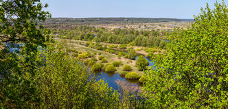Aerial landscape view on Desna river with flooded meadows and beautiful fields Royalty Free Stock Image