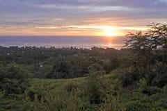 Dramatic sunset Rarotonga Cook Islands royalty free stock photo