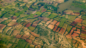 Aerial landscape view of fields and meadows royalty free stock photo