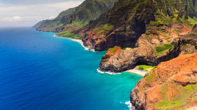 Aerial landscape view of Honopu Arch at Na Pali coastline, Kauai Stock Photos