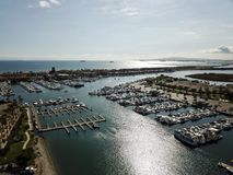 Aerial landscape view of Huntington Harbor in Huntington Beach Southern California. Aerial landscape view of Huntington Harbor in Huntington Beach, Orange County Royalty Free Stock Photo