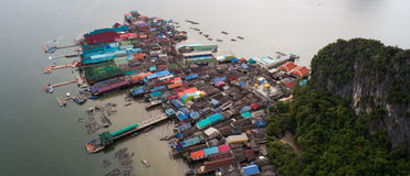 Aerial landscape view of Koh Panyee village, Thailand Royalty Free Stock Photography