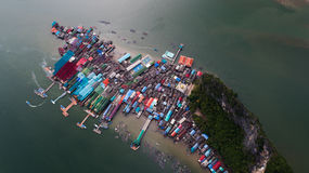 Aerial landscape view of Koh Panyee village, Thailand Royalty Free Stock Image