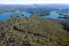 Aerial landscape view of Lake Burley Griffin in Canberra the capital city of Australia. Located in the ACT, Australian Capital Territory, Australia royalty free stock photo
