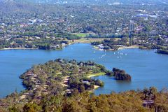 Aerial landscape view of Lake Burley Griffin in Canberra the capital city of Australia. Located in the ACT, Australian Capital Territory, Australia royalty free stock photography