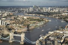 Aerial landscape view of London cityscape skyline with iconic la royalty free stock photos