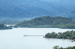Aerial landscape view of long concrete pier at Ao Karang bay Koh Chang view point stock photo