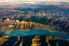 Aerial landscape view of mountain range and lake, New Zealand stock photos