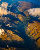 Aerial landscape view of mountain range in New Zealand. Aerial landscape view of mountain range near Queenstown, New Zealand Royalty Free Stock Photos