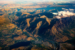 Aerial landscape view of mountain range, river and lake, NZ. Aerial landscape view of mountain range, river and lake, South island of New Zealand Stock Image