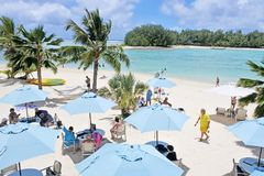 Aerial landscape view of Muri lagoon Rarotonga Cook Islands Stock Images