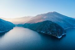 Free Aerial Landscape View Of Lake Rausor In Late Winter Stock Photos - 214555883
