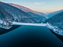 Free Aerial Landscape View Of Lake Rausor In Late Winter Royalty Free Stock Photography - 214667817