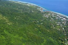 Aerial landscape view of Rarotonga Cook Islands. Aerial landscape view of Port of Avatiu , Avarua Town and Avarua District  in Rarotonga Island in the Cook Stock Photography