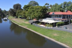 Aerial landscape view of river torrens in Adelaide  South Australia. Aerial landscape view of river torrens in Adelaide the capital city of South Australia royalty free stock images