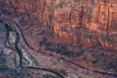 Aerial landscape view of rock cliffs and a road in Zion national royalty free stock image