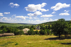 Aerial landscape view of a rural area under blue sky. Moldova Royalty Free Stock Photography