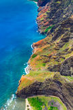 Aerial landscape view of spectacular Na Pali coastline from heli Royalty Free Stock Photo