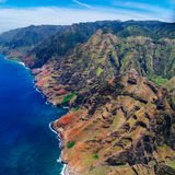 Aerial landscape view of spectacular Na Pali coastline from heli. Aerial view of Na Pali coastline from helicopter, Kauai, Hawaii, USA Royalty Free Stock Photography