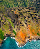 Aerial landscape view of spectacular Na Pali coastline from heli Royalty Free Stock Images