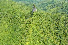 Aerial landscape view of Te Rua Manga mountain Rarotonga Cook Is. Aerial landscape view of Te Rua Manga The Needle The highest mountain of Rarotonga reaches 658 royalty free stock image