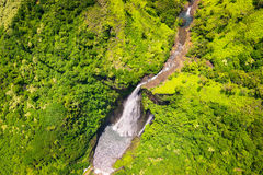 Aerial landscape view of waterfall and green landscape, Kauai stock photo