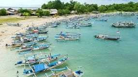 Aerial landscape of wooden fisherman boats Royalty Free Stock Images