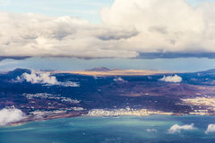 Aerial of Lanzarote with volcanoes Royalty Free Stock Images