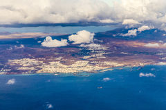 Aerial of Lanzarote with volcanoes Stock Photos
