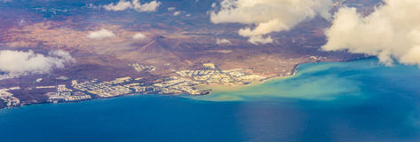 Aerial of Lanzarote with volcanoes Royalty Free Stock Photo