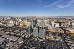 Aerial Las Vegas Towers and Iinterstate 15 Royalty Free Stock Image