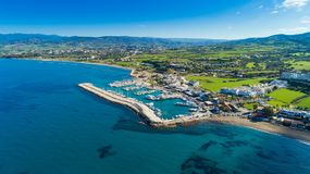 Aerial Latchi, Paphos, Cyprus. Aerial bird`s eye view of Latchi port, Akamas peninsula, Polis Chrysochous, Paphos, Cyprus. The Latsi harbour with boats and Stock Image