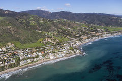 Aerial of Lechuza Beach area in Malibu California. Aerial view of Lechuza Beach neighborhood in Malibu, California Stock Photos