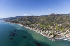 Aerial of Lechuza Beach in Malibu California Royalty Free Stock Images