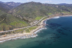 Aerial of Leo Carrillo State Beach near Los Angeles California Royalty Free Stock Image
