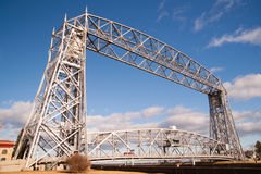 Aerial Lift Bridge Duluth Harbor Lake Superior Minnesota Wiscons. A beautiful but cold spring day in Duluth Minnesota Stock Images