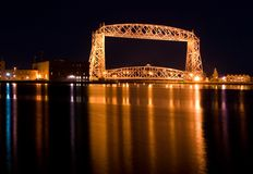 The Aerial Lift Bridge  (night). The Aerial Lift Bridge is a major landmark in the port city of Duluth, Minnesota. The span is a vertical lift bridge, which is Royalty Free Stock Photos